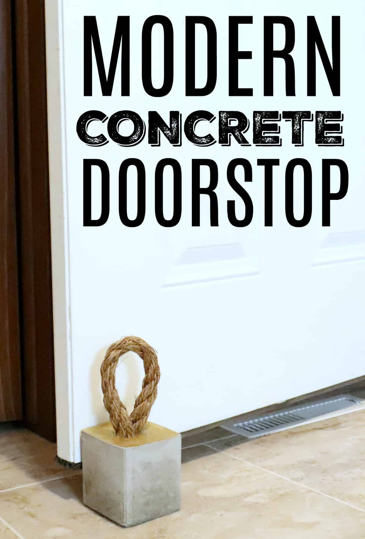 how to make a modern concrete doorstop with rope handle
