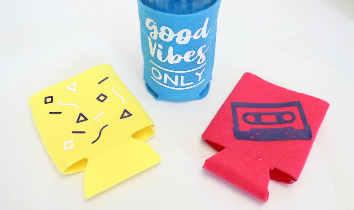 90's themed how to sew a koozie with felt