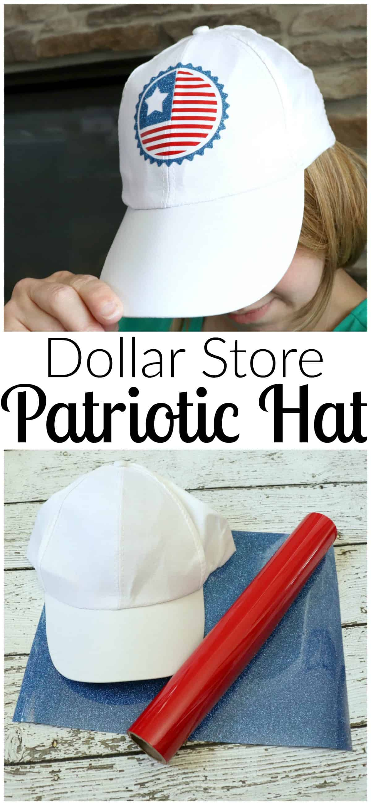 Make a patriotic hat with vinyl scraps and a dollar store hat