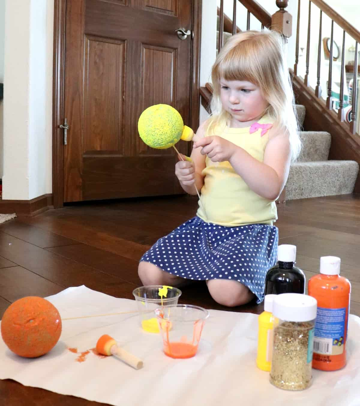 space themed preschool activities - how to make foam planets