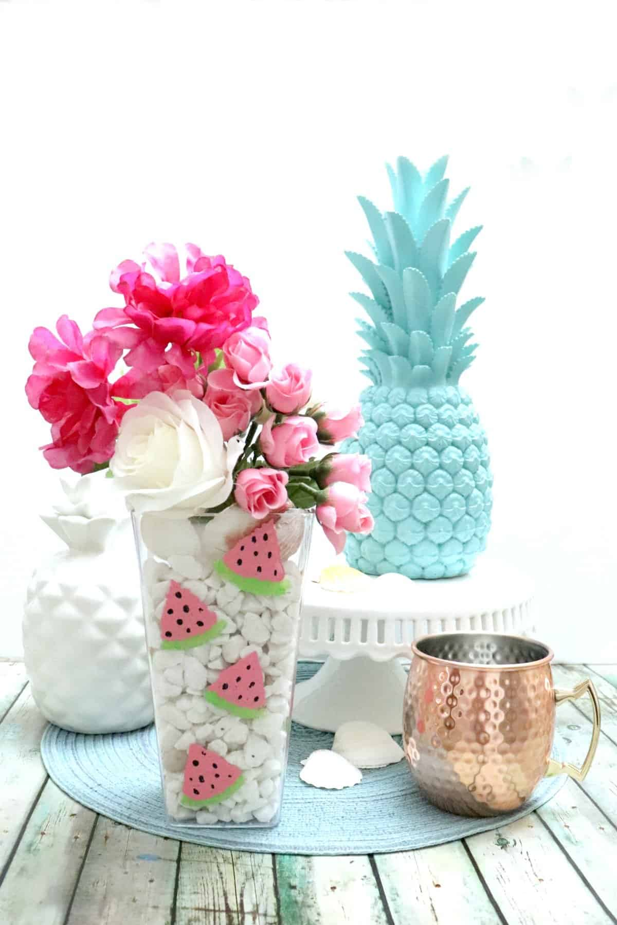 Dollar Store sponge paint watermelon vase for summer table