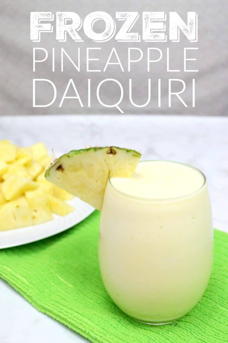 An easy cocktail recipe for a frozen pineapple daiquiri. #cocktail #drinks #summerdrink #daiquiri