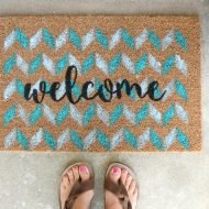 Stenciled Ikea Door Mat