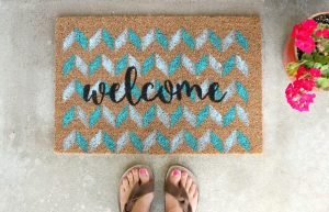 Make this stenciled Ikea Door Mat