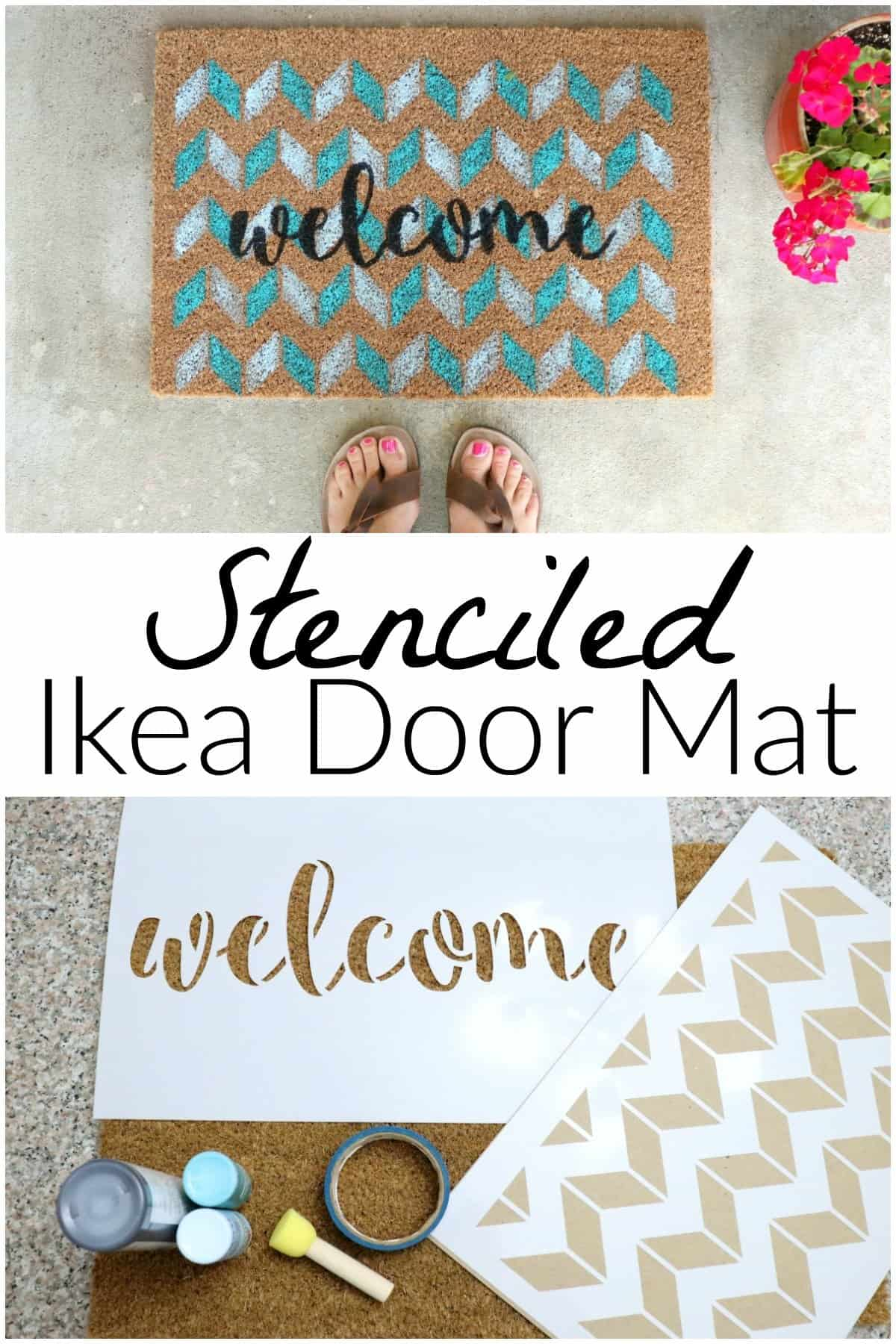 Make this stenciled Ikea door mat by layering 2 stencils