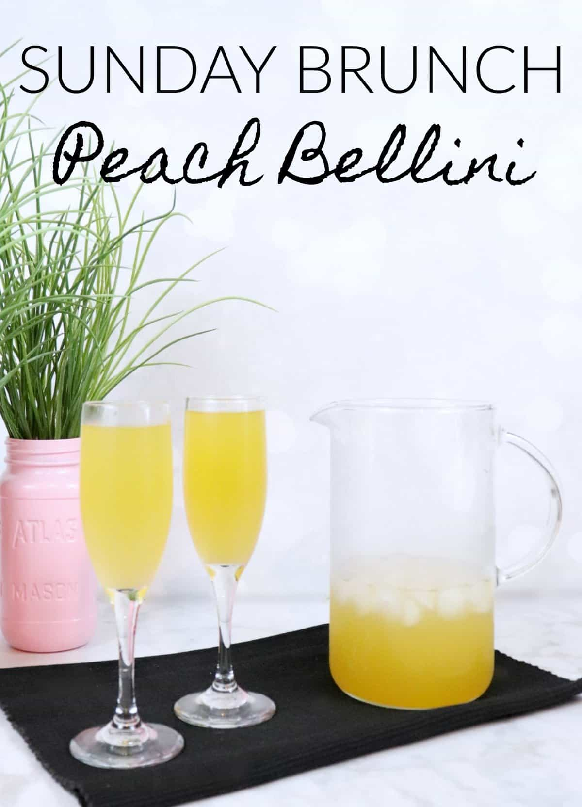 sunday brunch peach bellini recipe for a pitcher to please a crowd