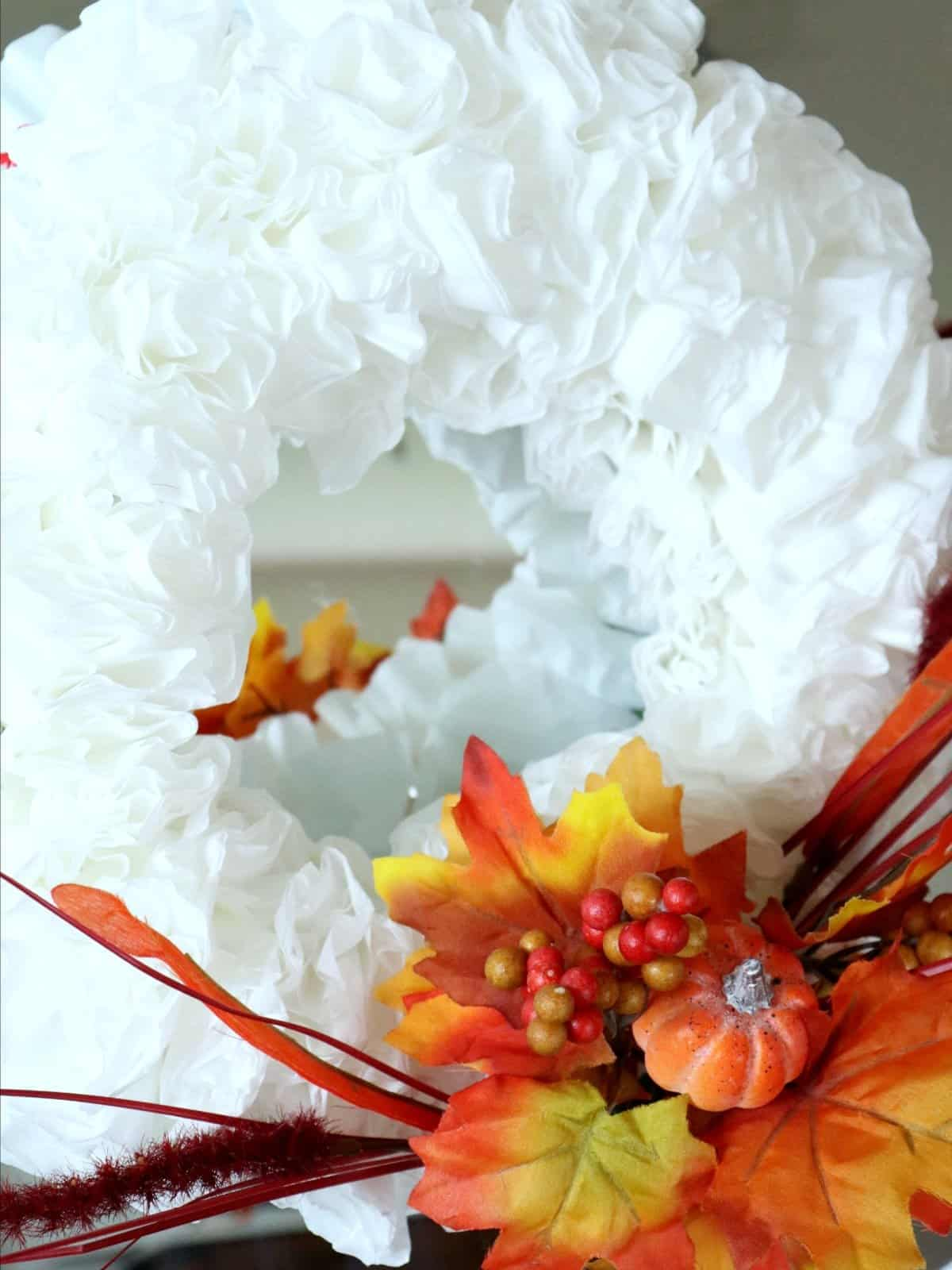 Fall Dollar Store Coffee Filter Wreath #falldecorideas #dollarstorecrafts