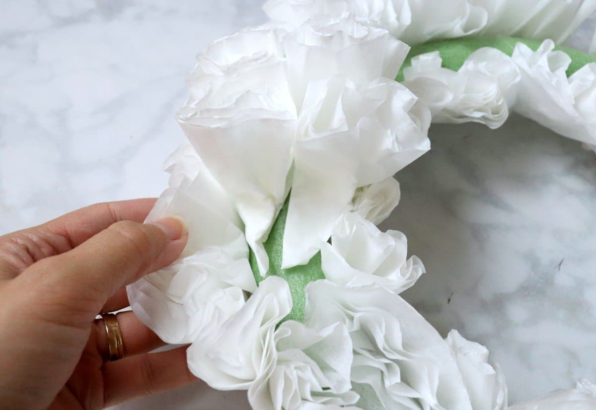 dollar store coffee filter wreath tutorial