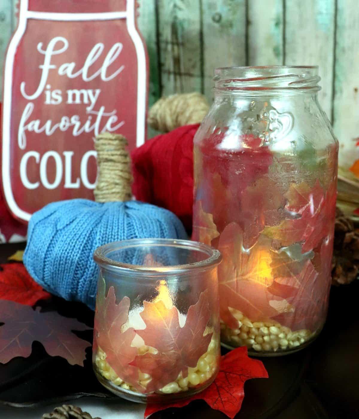 fall leaf mason jar