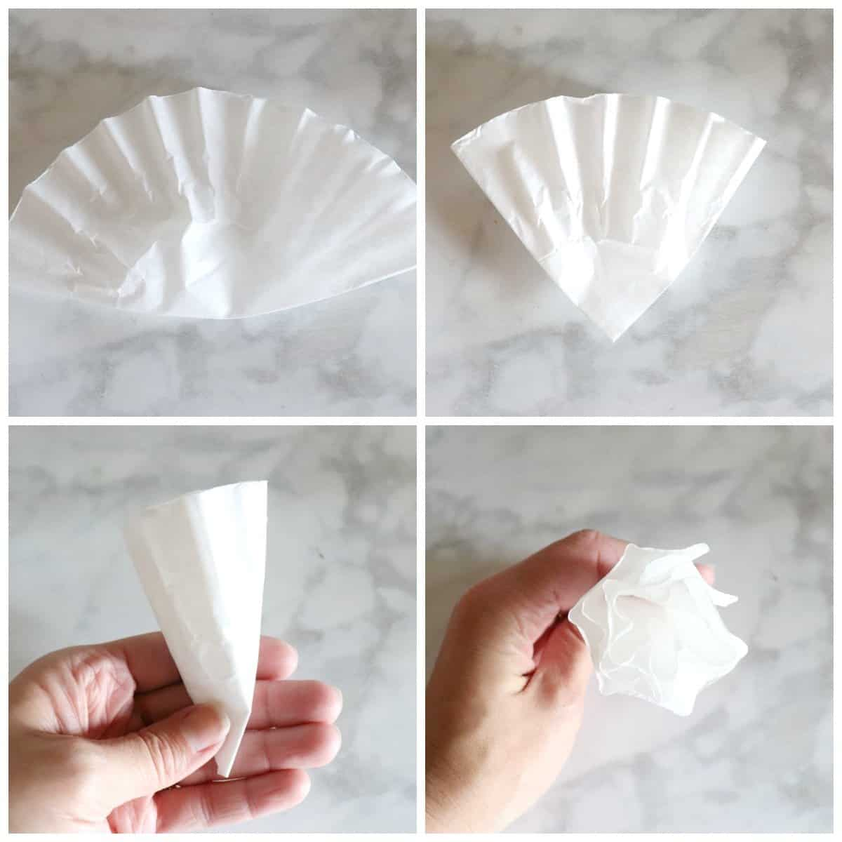 fold filters for coffee filter wreath