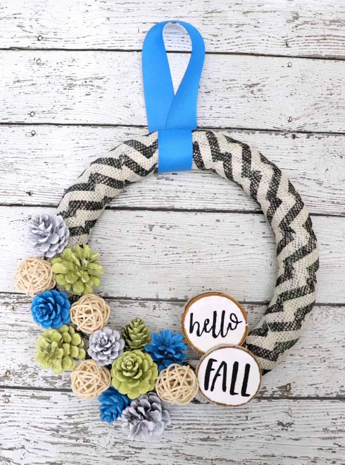 hello fall pinecone wreath with burlap and chevron