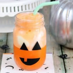 Mason Jar Jack o Lantern with an Orange Float