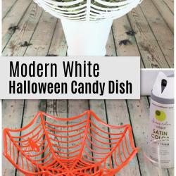 modern white halloween candy dish