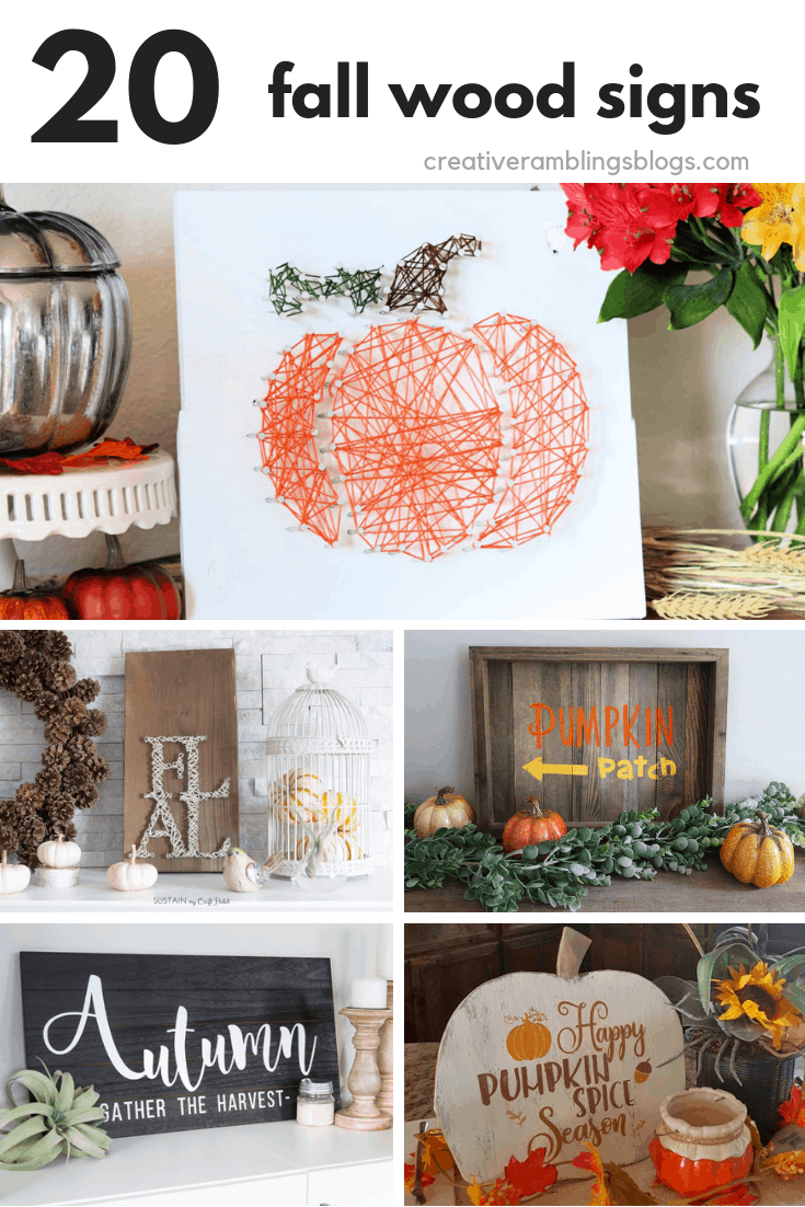 20 fall wood signs collage