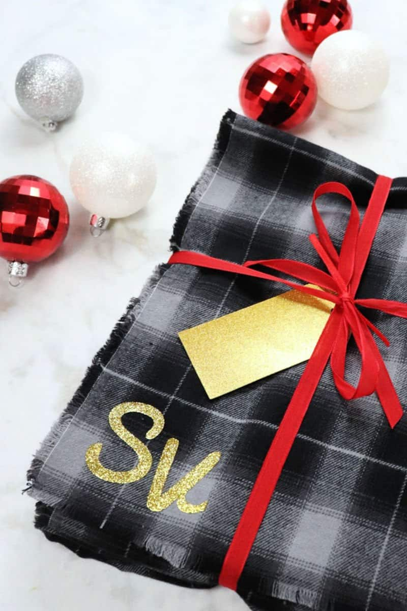 DIY no sew blanket scarf with monogram gift wrapped