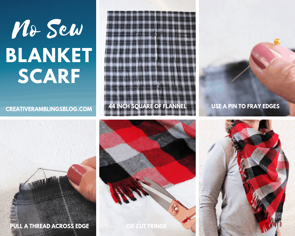 HOW TO make a no sew blanket scarf photo collage