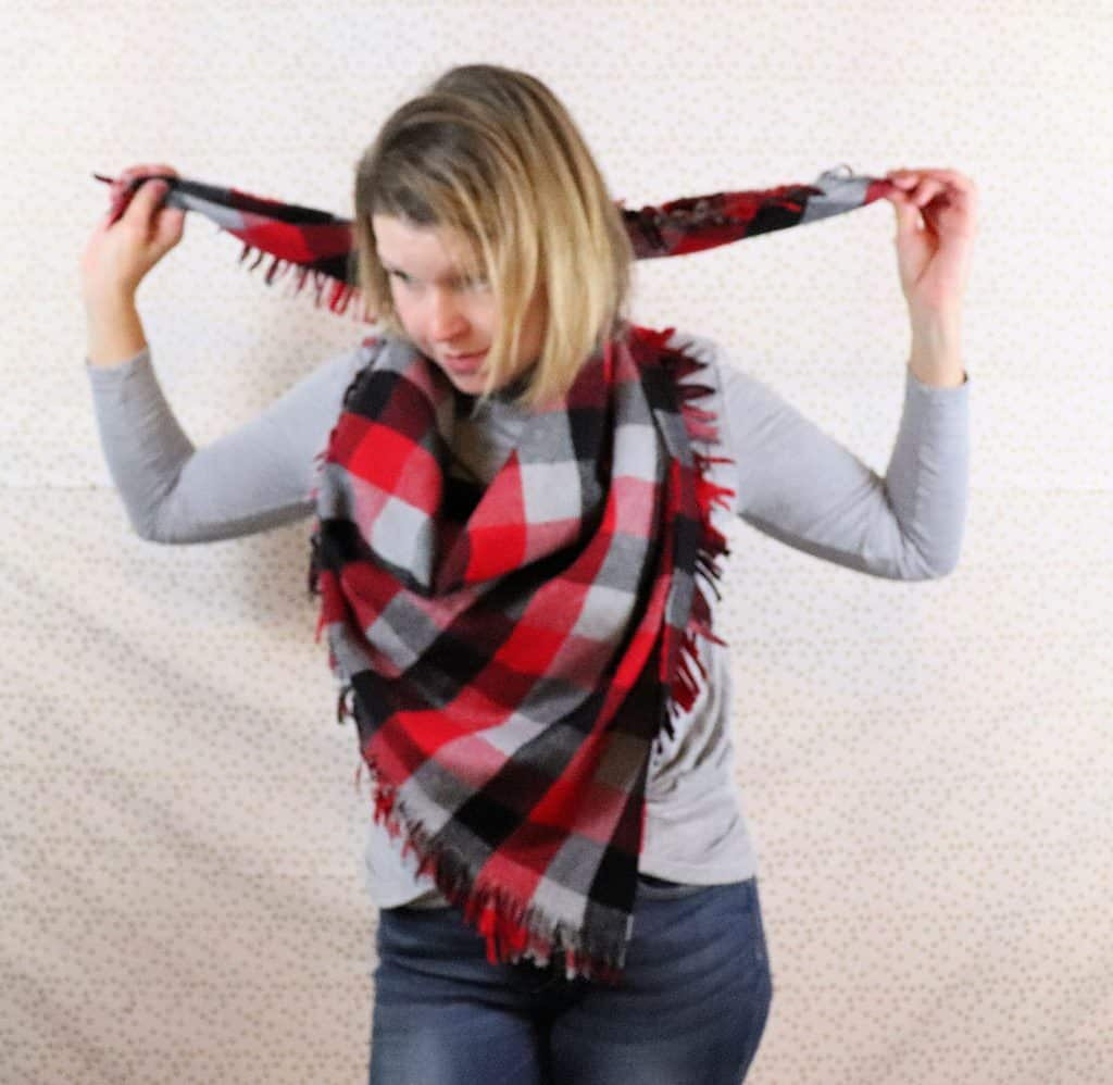 how to wear a blanket scarf step 2