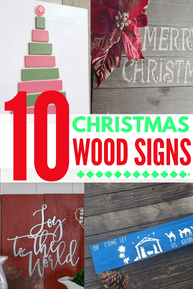 10 DIY christmas wood signs collage 2