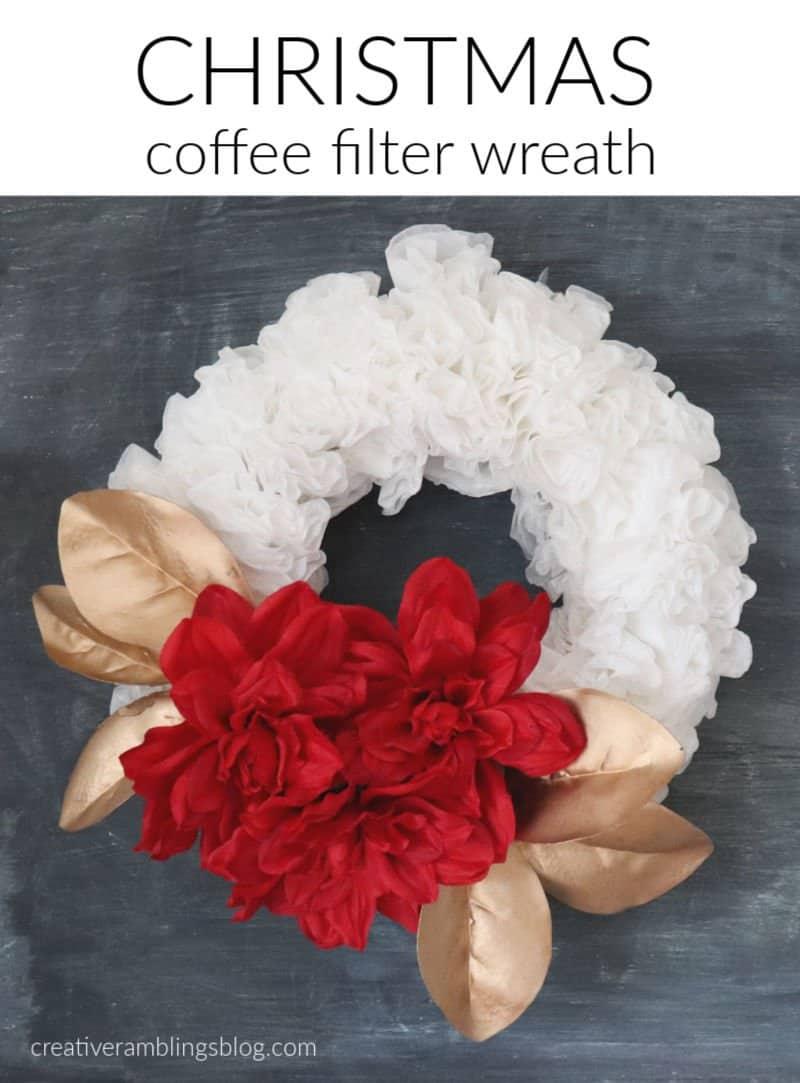 christmas coffee filter wreath tutorial