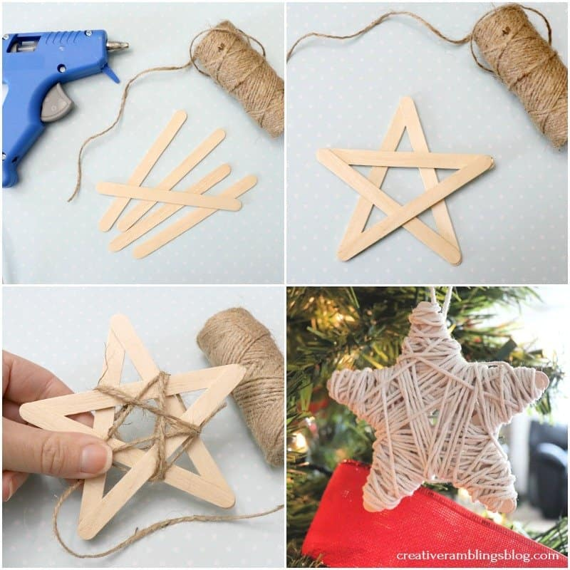 dollar store twine ornament step by step tutorial