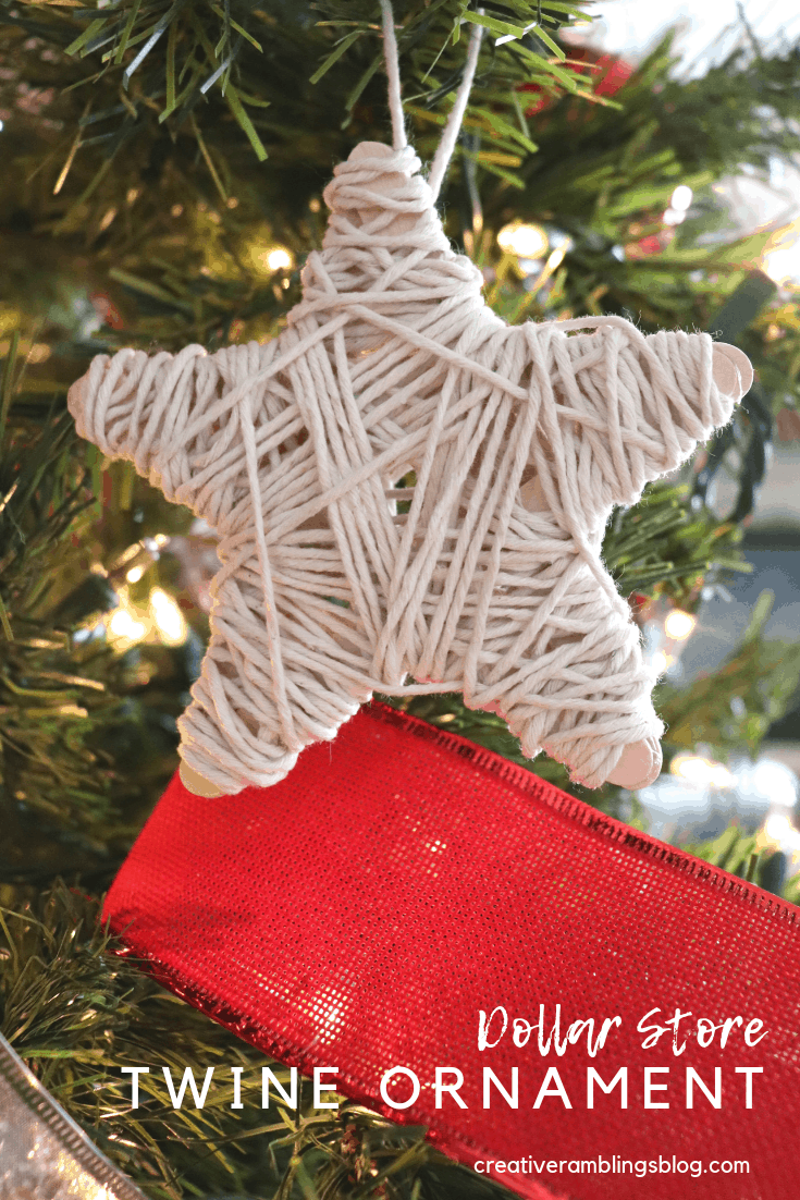 how to make a dollar store twine ornament
