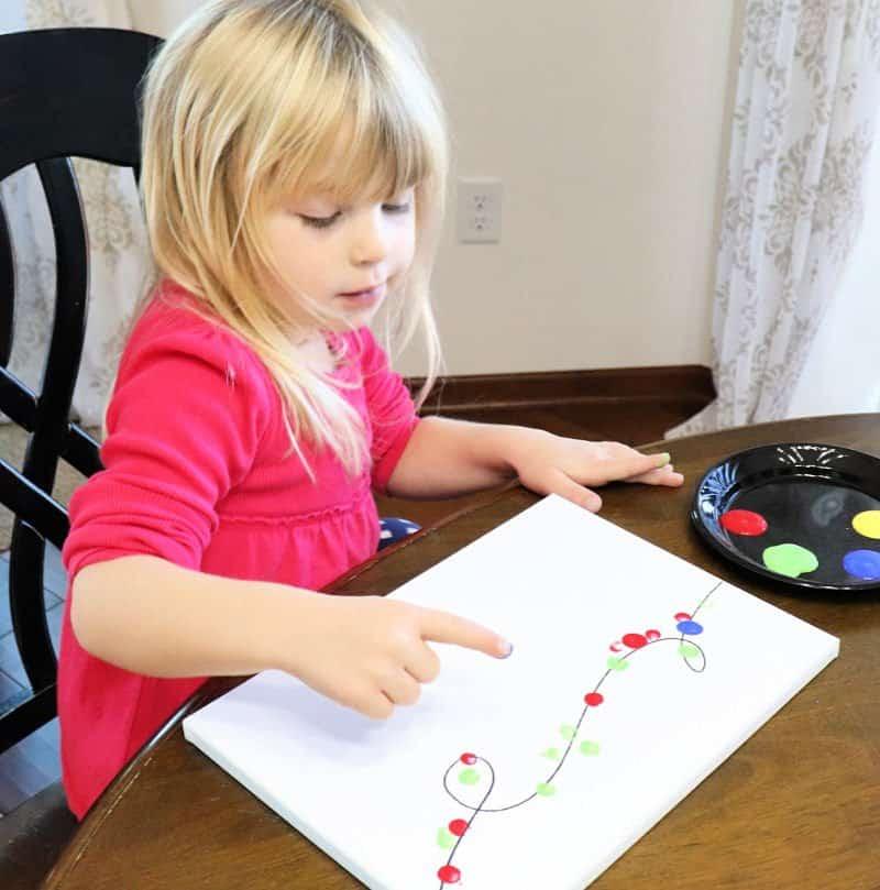 kids christmas craft fingerprint lights