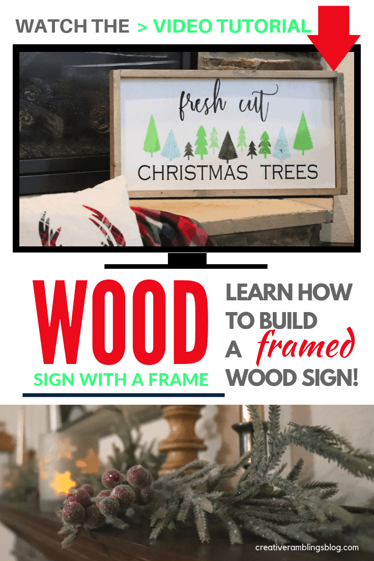 Build a framed wood sign. Watch this video tutorial and learn how to build a simple frame for a wood sign.  Make this easy Christmas sign with vinyl and a stencil, add a gray frame for depth and a pretty edge. #christmas #woodsign