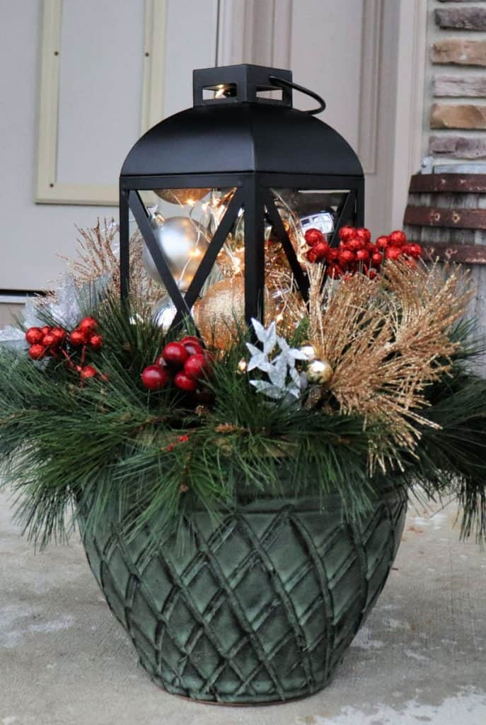 outdoor christmas planter front porch