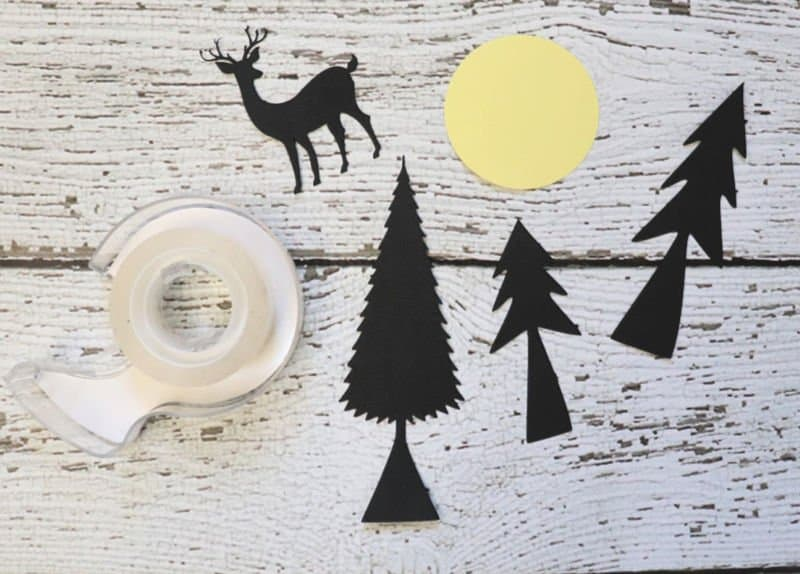 silhouette cut outs for winter mason jar