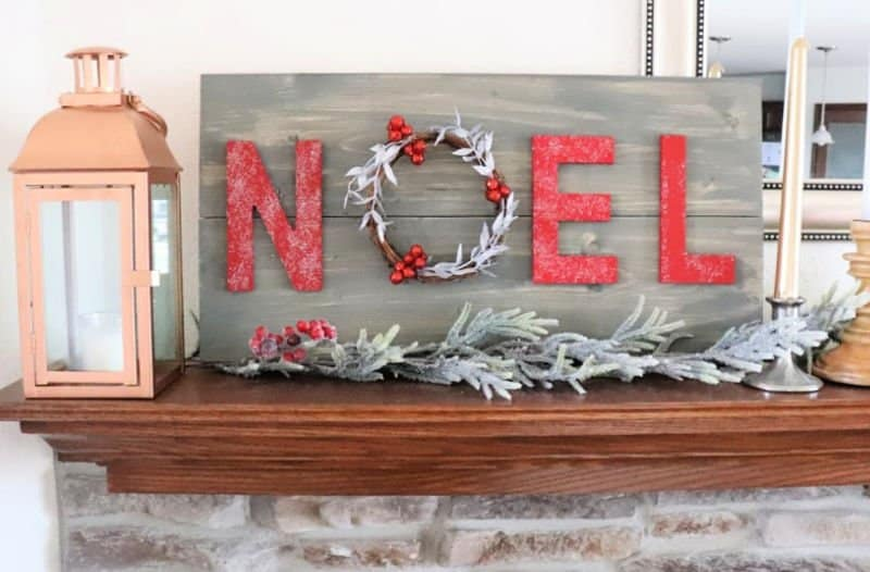 wood sign noel wreath sign