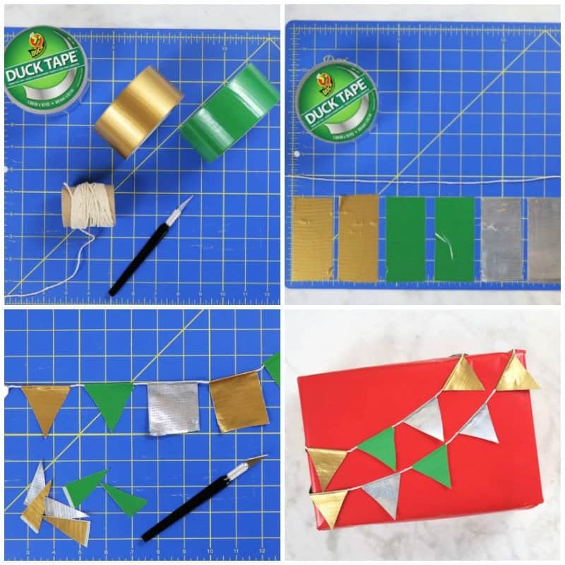 3 Creative Christmas Gift Wrapping Ideas - bunting steps