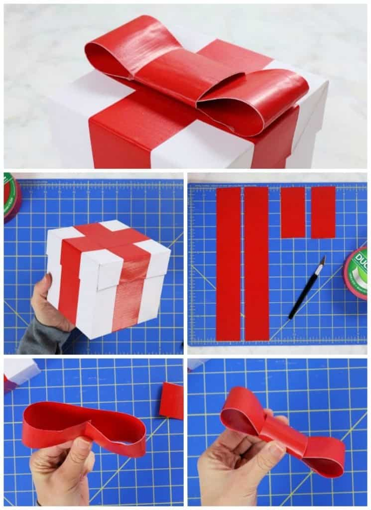3 Creative Christmas Gift Wrapping Ideas - gift box bow steps