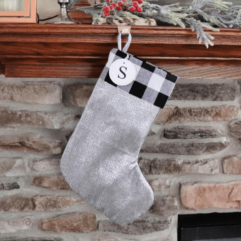 DIY buffalo check stocking decor