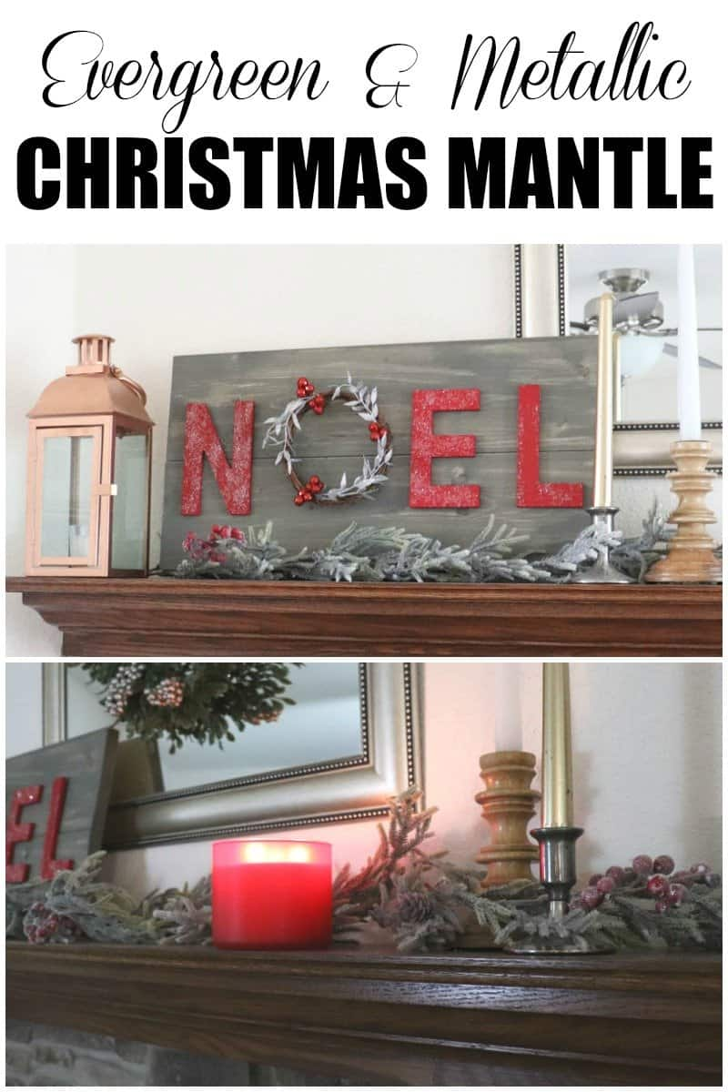 Evergreen and Metallic Christmas mantle