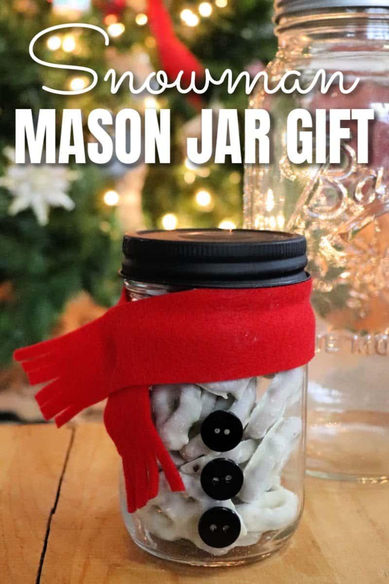 Make a snowman mason jar gift