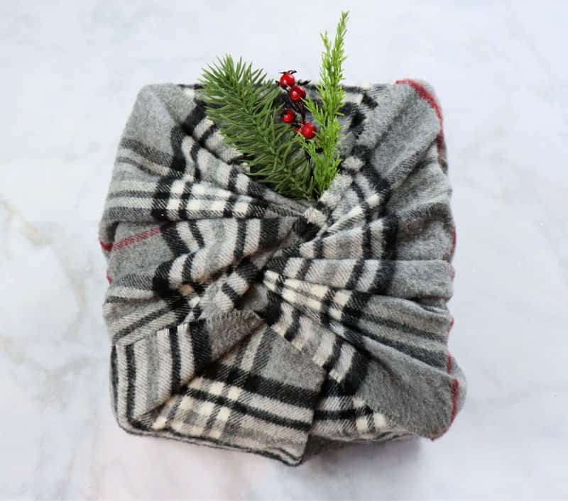 christmas gift with scarf gift wrap