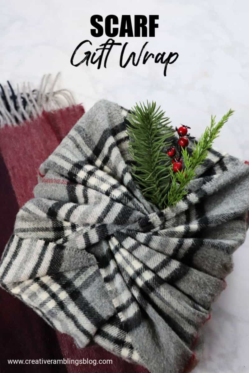 scarf gift wrap. No waste gift wrap ideas for Christmas