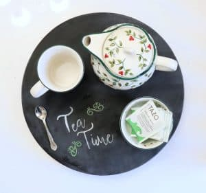 tea time chalkboard lazy susan serving tray