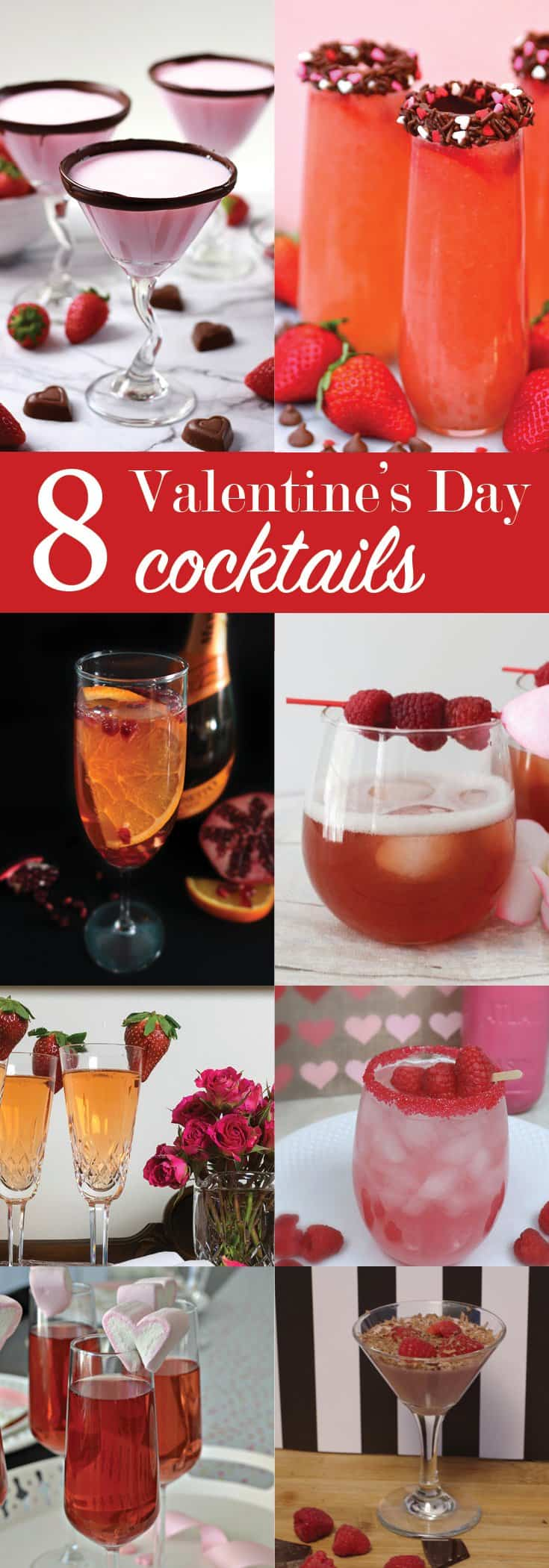 8 Valentine's Day cocktail recipes. Pink and red drinks for Valentine's Day.