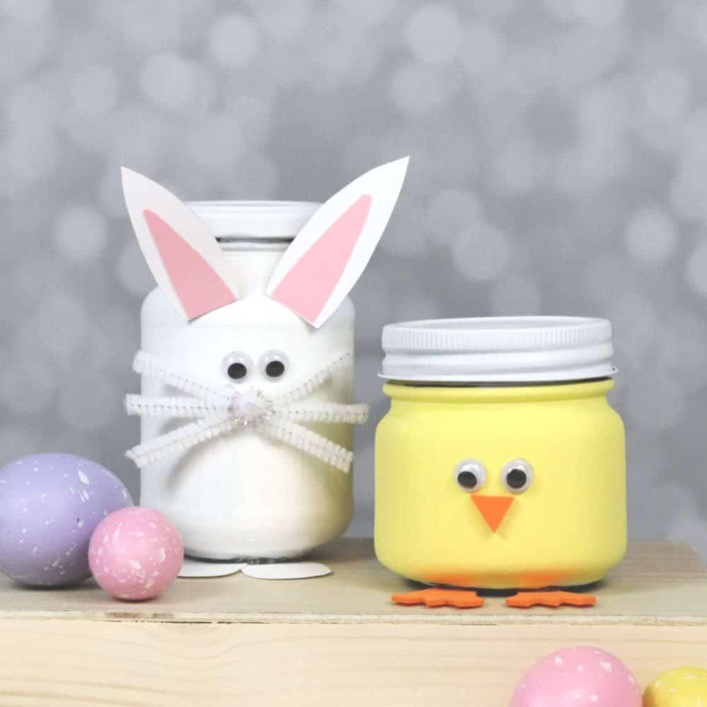 Bunny and Chick Easter Mason Jars