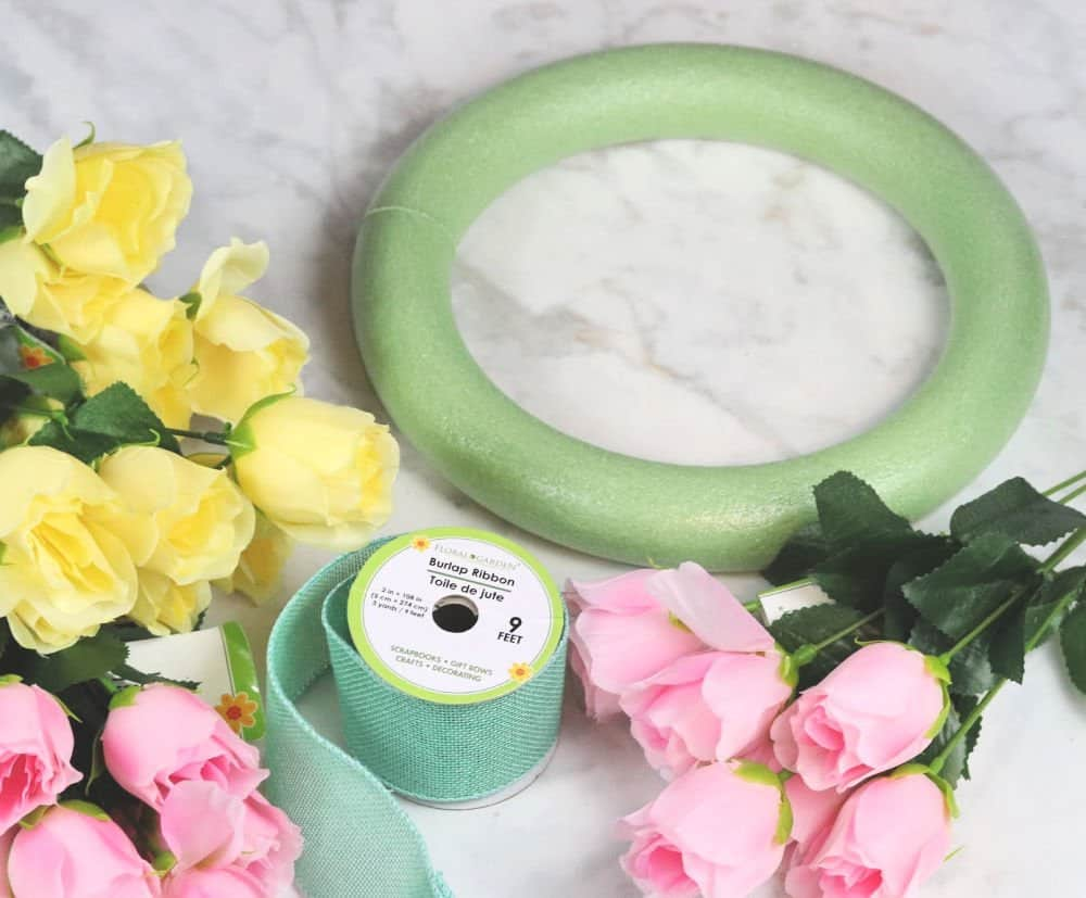 Dollar Store Spring wreath supplies