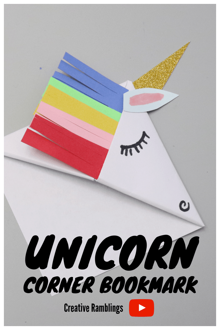 How to make a unicorn corner bookmark. Video on how to fold a corner bookmark