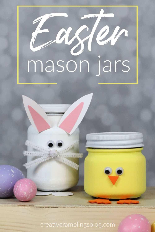bunny and chick Easter mason jars (1)