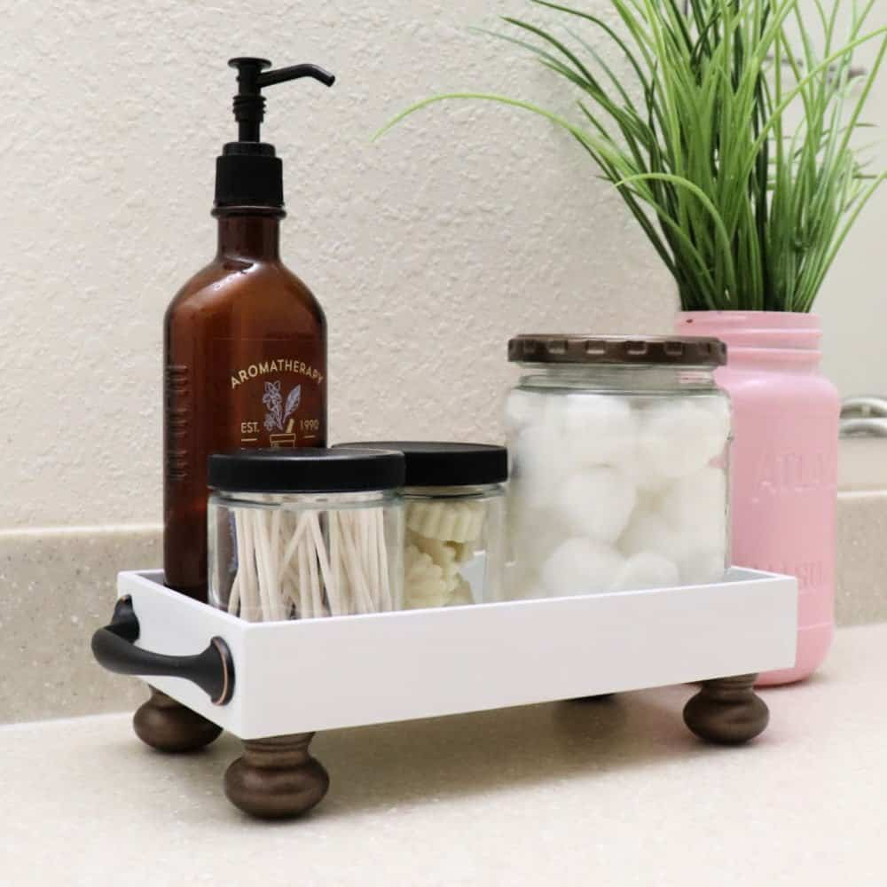 get organized with a DIY bathroom tray