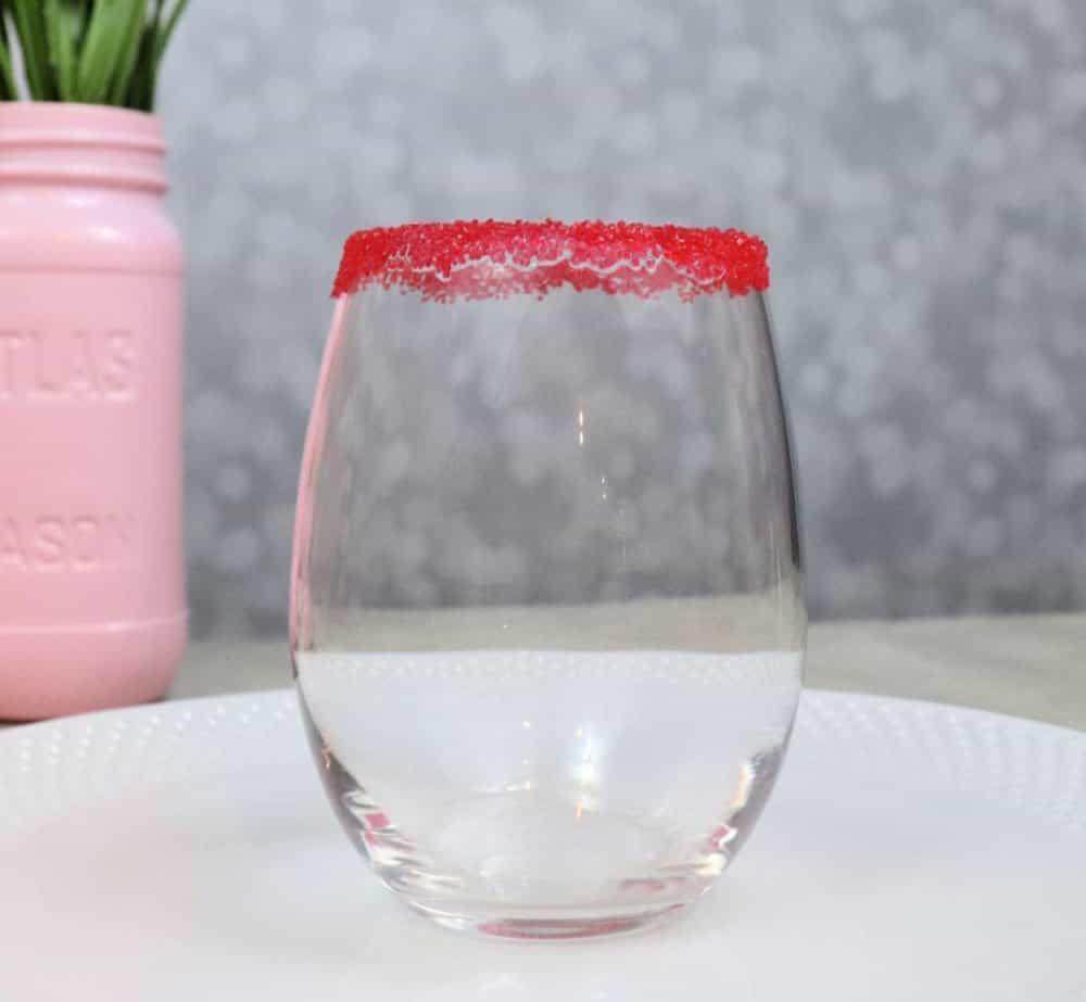 red sugar rim cocktail glass