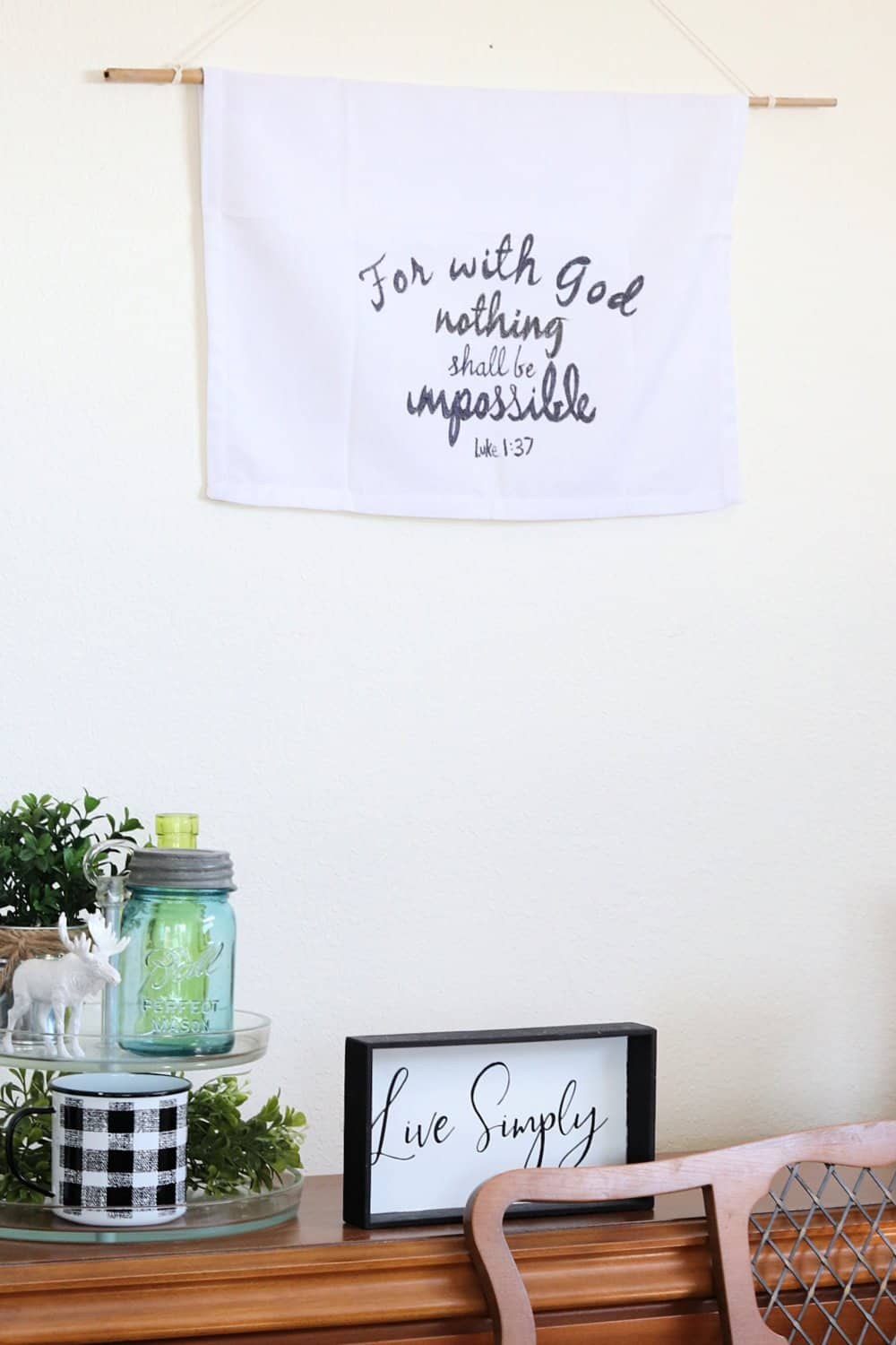 Upcycled fabrci wall hanging - for with God nothing shall be impossible Luke 1 37