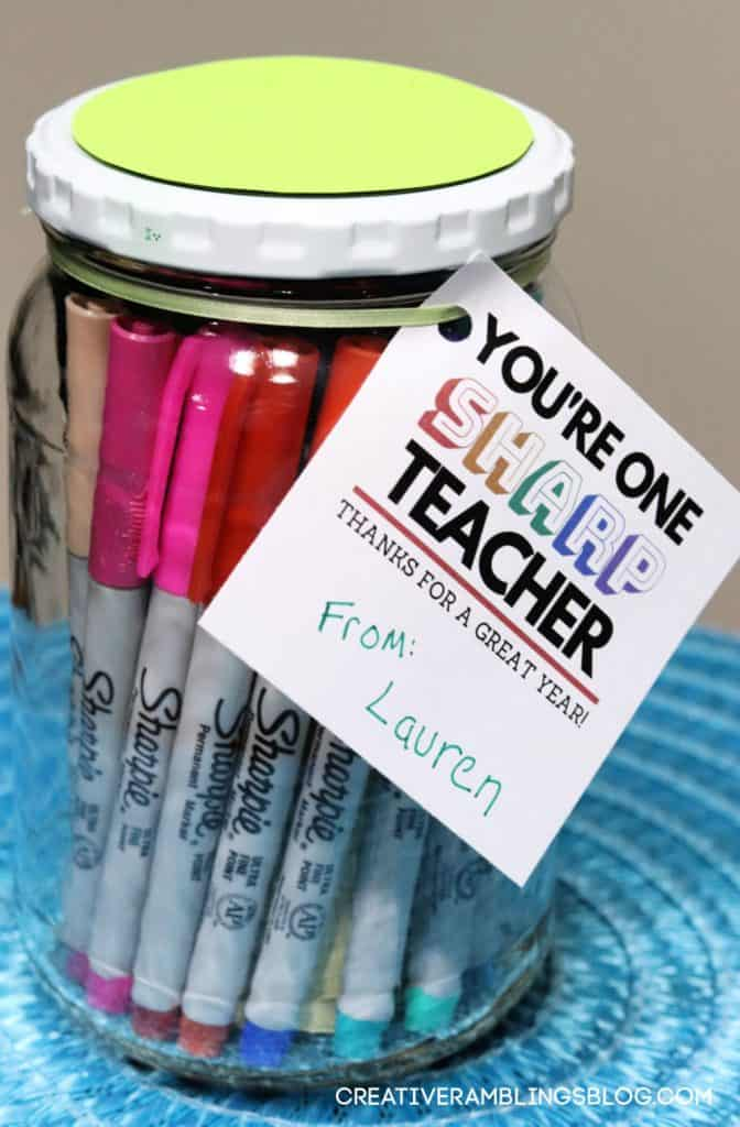 Printable teacher gift tag with jar of Sharpies