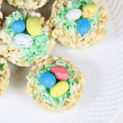 Rice Krispies treat nests for Easter pin 4