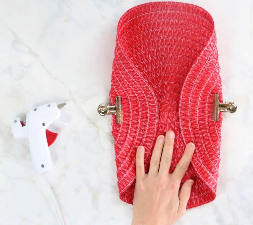 Dollar Store place mat clutch purse step 2