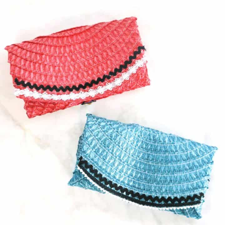 Dollar store place mat clutch purse red and blue